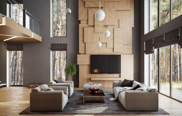 O painel de tv assimétrico parece mais uma obra de arte que apenas um móvel. Esta peça é sinônimo de funcionalidade aliada à estética. E para valorizar e destacar o pé direito alto, o ideal é apostar em itens que vão do chão ao teto.