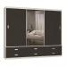 Guarda-Roupa Casal 3 Portas com 1 Espelho 100% Mdf 1397e1 Branco/Café - Foscarini