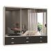 Guarda-Roupa Casal 3 Portas com 3 Espelhos 100% Mdf 1397e3 Branco/Café - Foscarini
