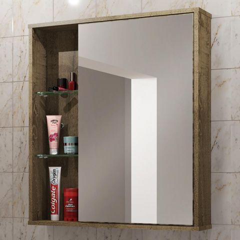 Armário De Banheiro áereo 1 Porta Com Espelho Miami 2075182 Rústica Bechara Móveis