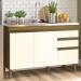 Balcão de Cozinha para Pia 120 Cm 3 Portas 2 Gavetas Nature/Off White B103 - Briz